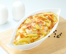 Baked Soy Cheese Prawns With Macaroni